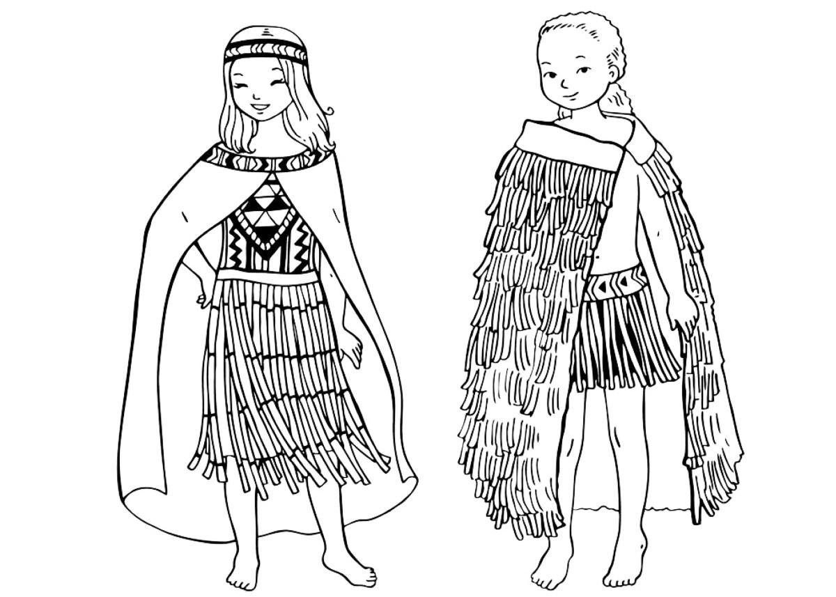 Dibujo para colorear - Los niños de Nueva Zelanda