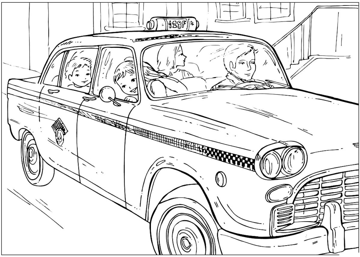 Dibujo para colorear - Taxi de Nueva York