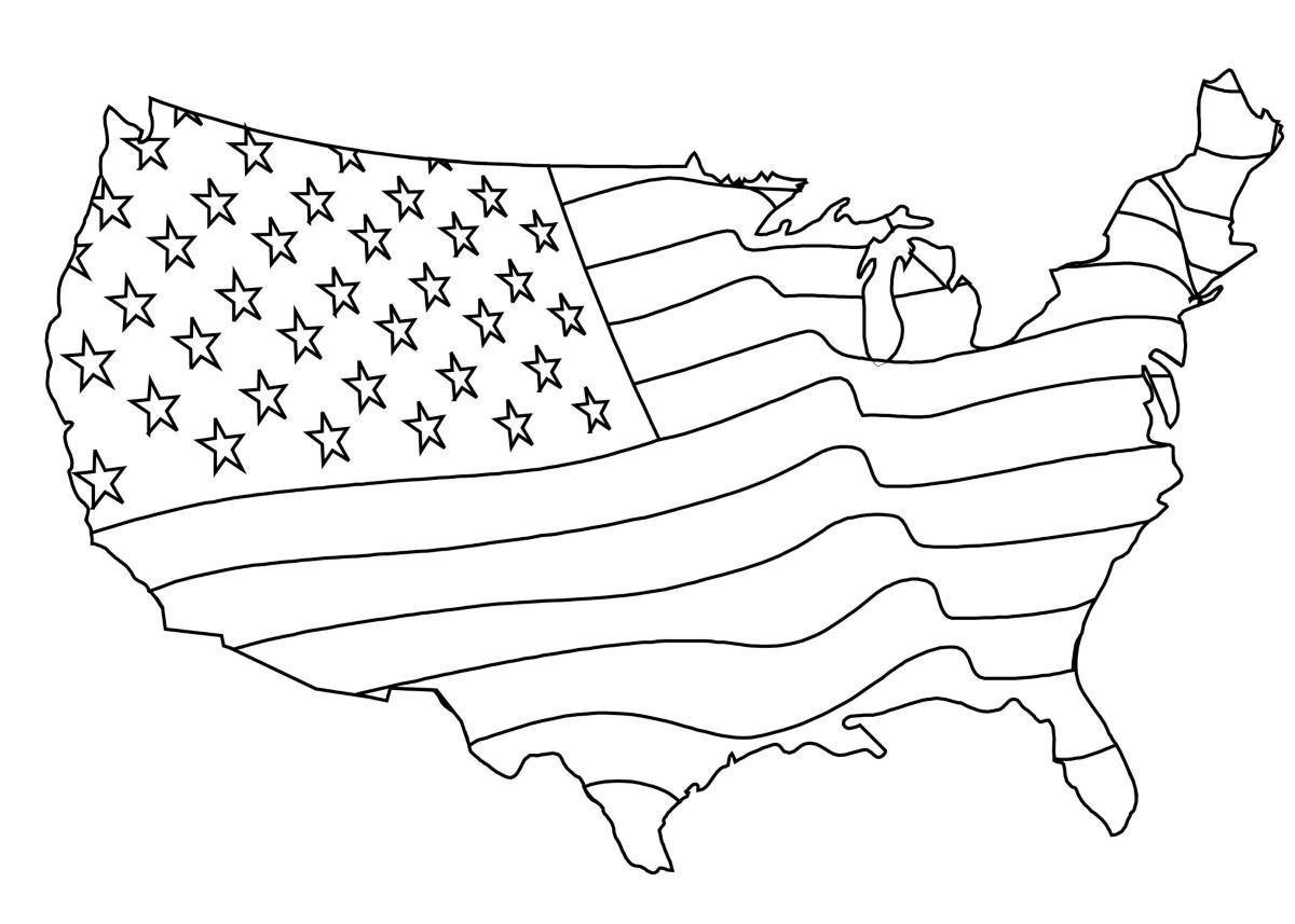 Dibujo para colorear - Bandera Americana Mapa