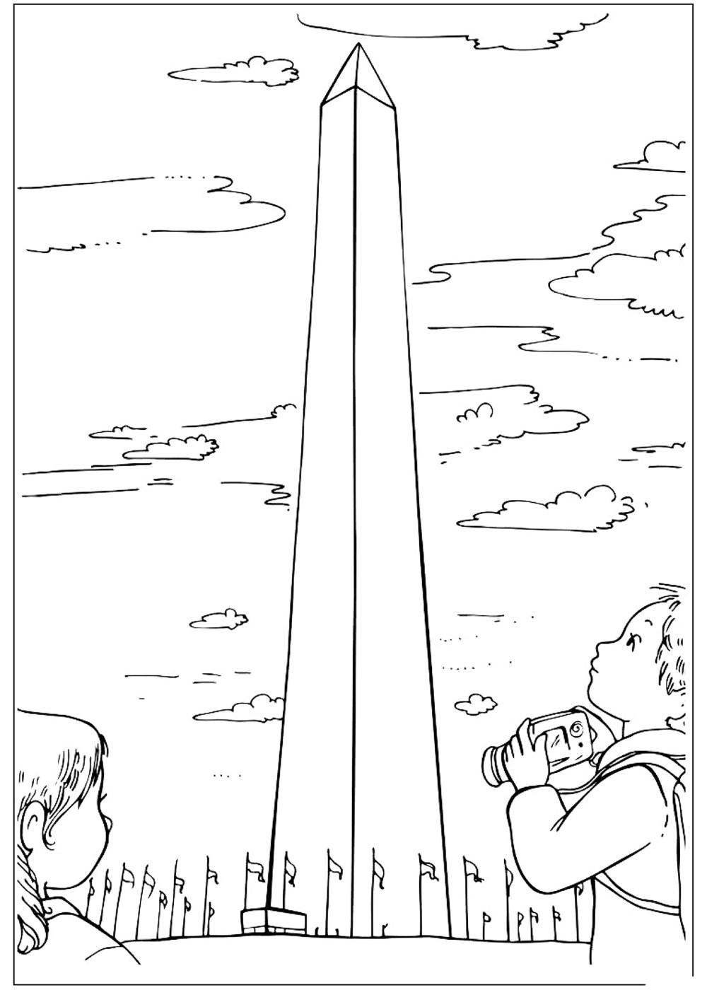 Magnífico Colorear Monumento De Washington Molde - Dibujos Para ...