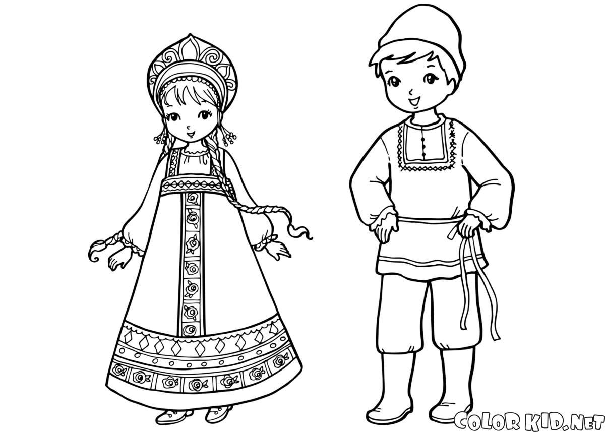 Dibujo para colorear - Niños ingleses