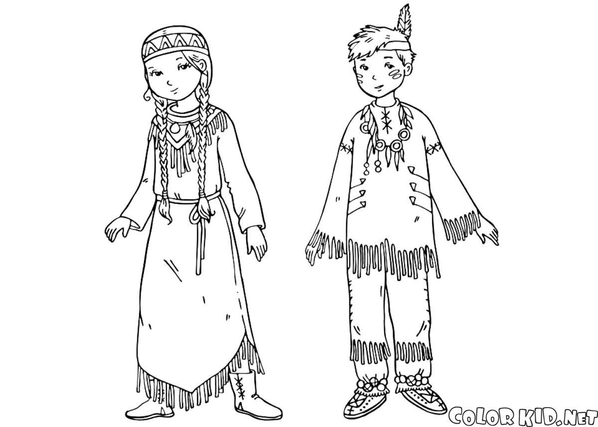 Dibujo para colorear - Niños estadounidenses
