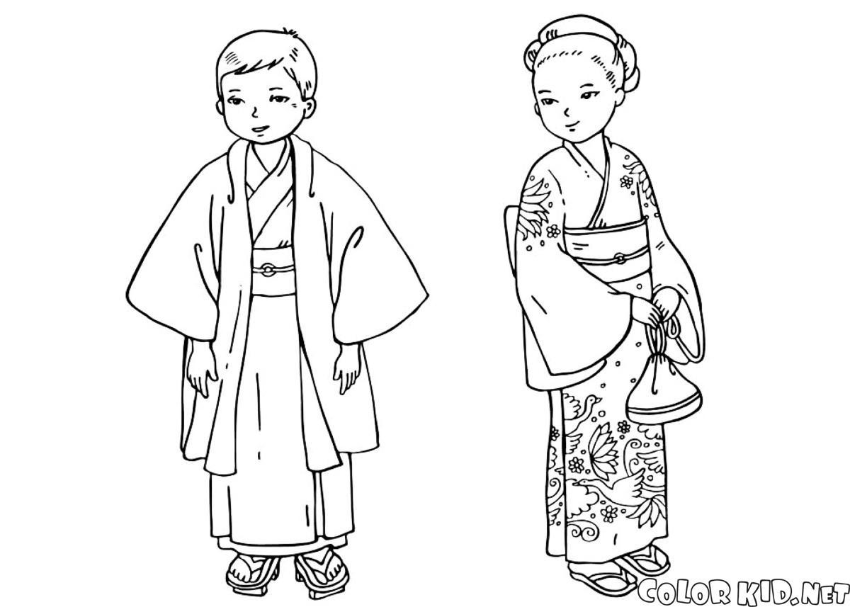 Bonito Kimono De Páginas Para Colorear Japonés Inspiración - Dibujos ...