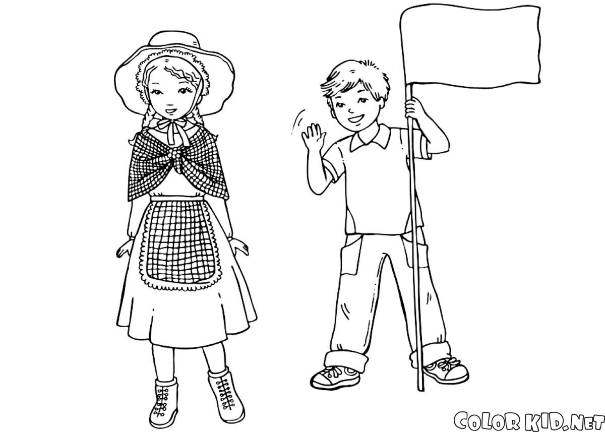 Dibujo para colorear - Los niños japoneses