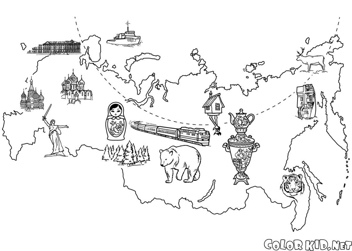 Dibujo para colorear - Mapa de Rusia