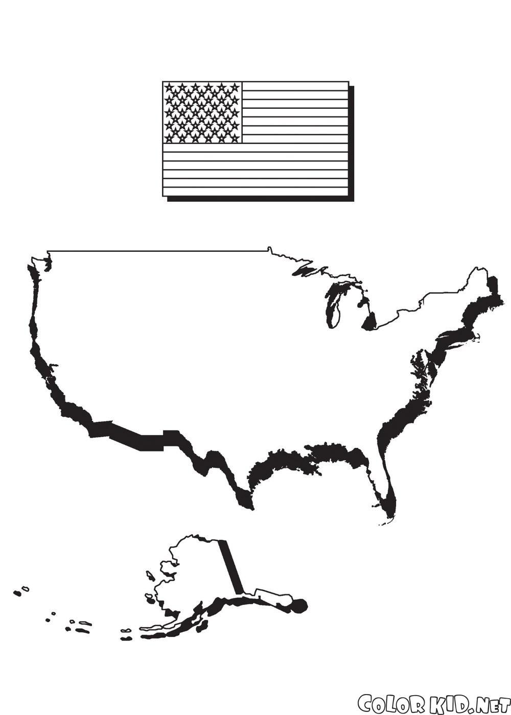Dibujo para colorear - Mapa de América y la bandera