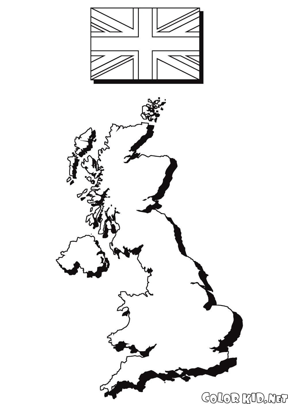 Dibujo para colorear - El mapa y la bandera de Inglaterra