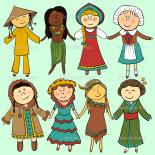 Niños en trajes tradicionales