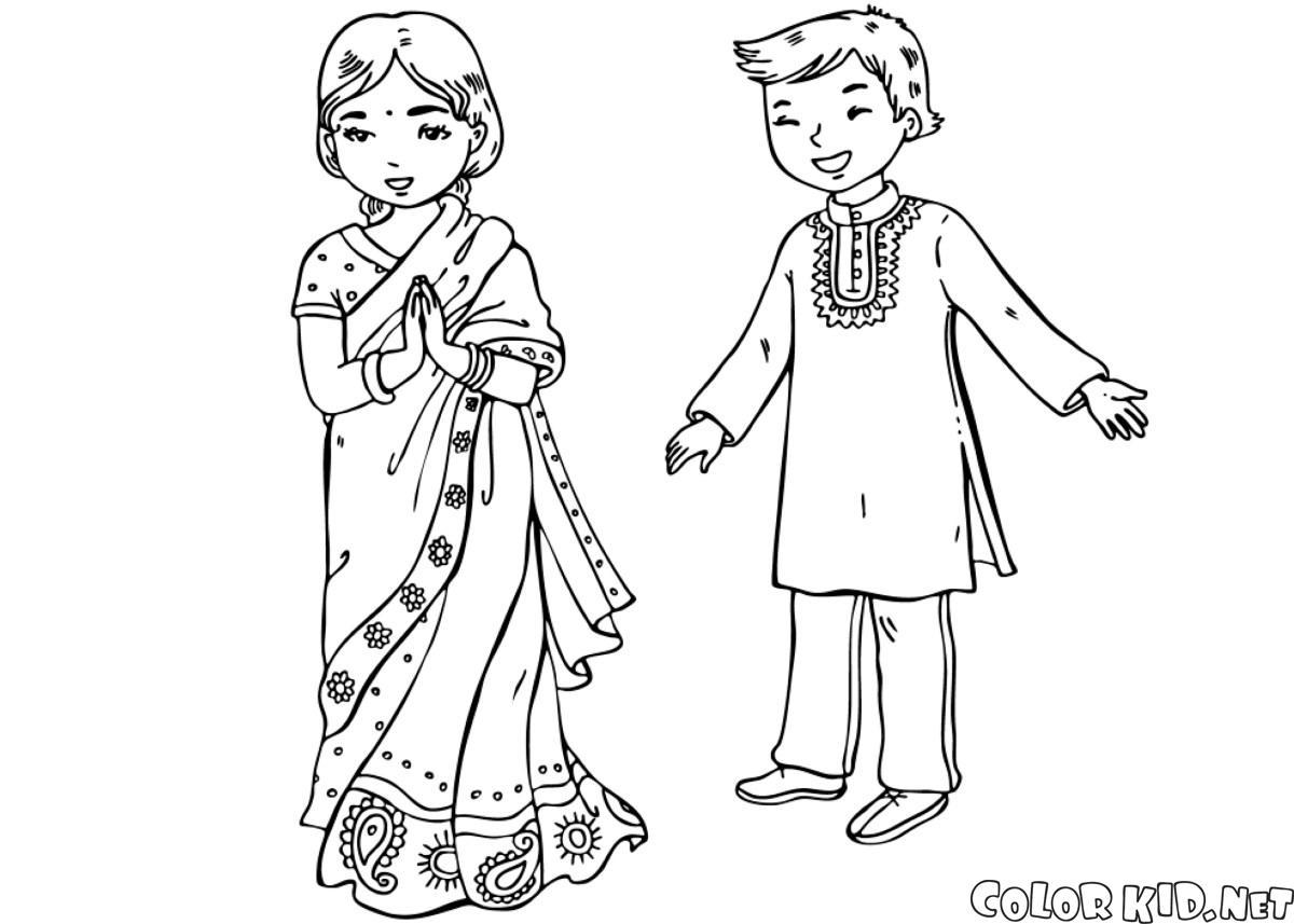 Dibujo para colorear - Niños en trajes tradicionales